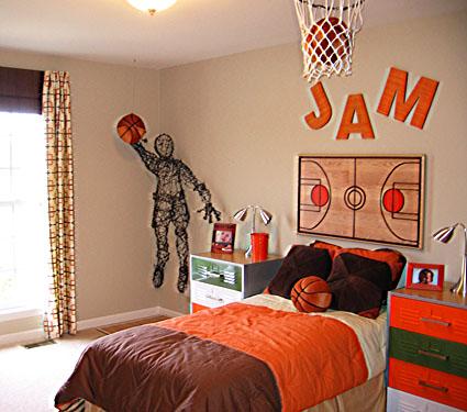 Habitación infantil con decoración de basquet