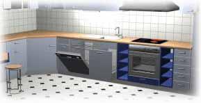 Integración de la lavadora en los mubles de la cocina