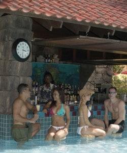 Un bar en su piscina.