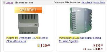 Comprando purificadores de aire por internet.
