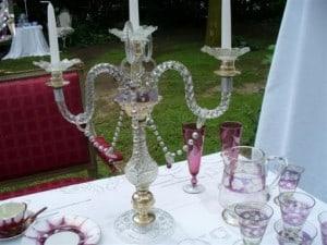 Candelabros de cristal venecianos con caireles.